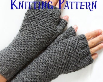 PDF Knitting Pattern - Honeycomb Mittens, Knit Fingerless Gloves, Fingerless MIttens, Wrist Warmers, Arm Warmers