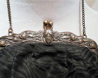 Antique Art Nouveau German Silver Frame and Black Silk With Fringe Purse, c. 1880