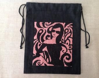 "Pouch, lingerie bag: ""vamp in a black dress"""