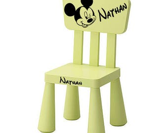 Green Chair personalized with a mickey head and a name.