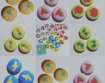 1 food pinback button 1 inch SET A /avocado / carrot / watermelon / pineapple / apple / banana