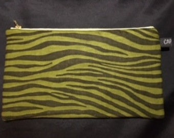 """Zebra"" khaki pouch"