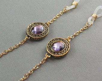 Gold Eyeglass Chain with Amethyst Accent, Reading Glasses Chain for Women, Eye Glass Chain, Eyeglass Holder Necklace, Eyeglasses Lanyard