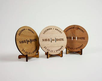 Wooden Wedding / Engagement Save the Date - Modern