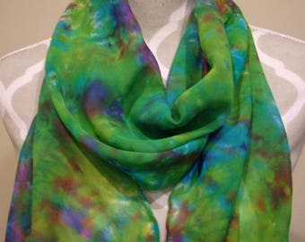 Silk Chiffon Waterlilies Underwater Handpainted Scarf Wrap Shawl