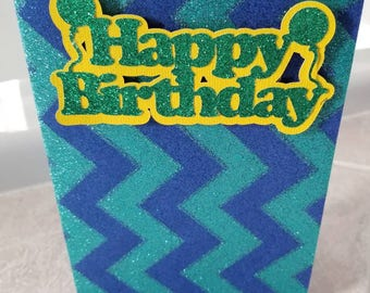 Blue zigzag glitter greeting card