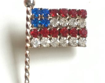 Vintage Rhinestone American Flag Brooch Pin