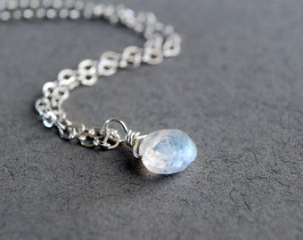 Moonstone Necklace, June Necklace, Natural Stone Necklace, Tiny Stone Necklace, Delicate Necklace, Sterling Silver