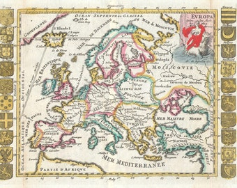 Map Of Europe; Antique Map; Historic Cartography; Lafeuille, 1706
