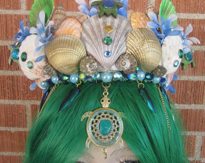Mermaid Crown, Turtle Crown, Mermaid Headband, Mermaid Headdress, Sea Shell Crown, Mermaid Costume, Seashell Tiara, Sea Creature Crown