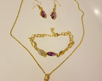 Purple/gold necklace/bracelet/earring set
