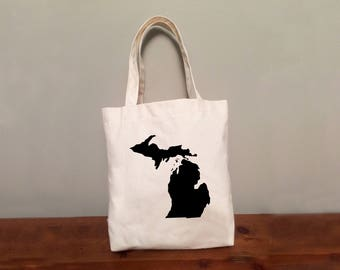 Michigan Tote Bag with Optional Heart