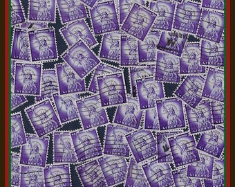 100 Statue of Liberty - Purple Stamps - Vintage Stamps By Color