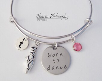 Dance Bracelet, Necklace or Keychain - Adjustable Bangle Bracelet - Dance Teacher Gifts - Personalized Initial & Birthstone - Born to Dance