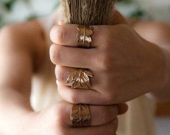 Leaf ring bronze, Avocado leaf, Woodland Jewelry, Botanical, Leaf ring, Golden ring, Rustic, Nature, Forest