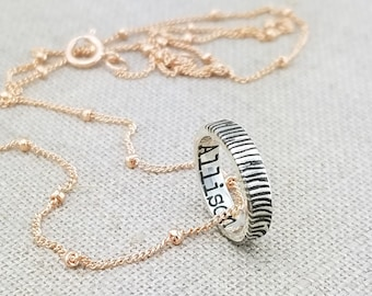 Personalized Fingerprint Necklace · Custom Name Jewelry · Personalized Mother's Day Gift · Mixed Metal Necklace · Ring Necklace