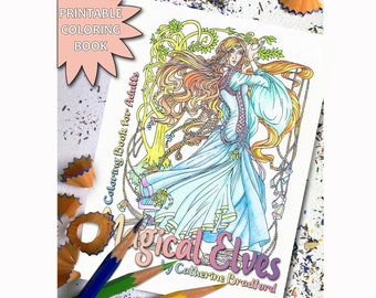 Magical Elves Coloring Book for Adults, Printable Adult Coloring Book Page, Download Printable Coloring Pages