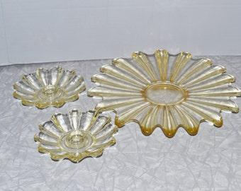 Fostoria Celestial Plate & Candle Holder Set