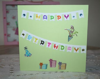 Green pastel colors birthday card