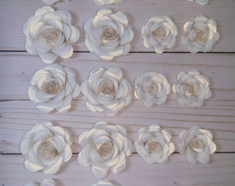 Pearlized White Rolled Paper Flowers for Centerpieces - 20 Pieces, Party Decorations, Wedding, Anniversary, Bridal Showers