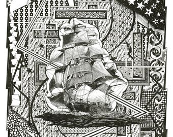 Clipper Sailing Ship Nautical items: Compass, Helm wheel and graphics Black and White Pen and Ink drawing