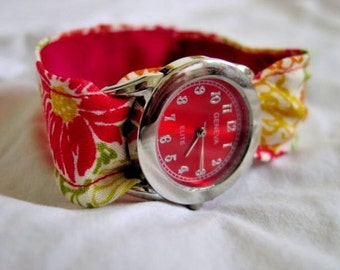 Floral  (Red, Orange, Yellow) Cotton Watch