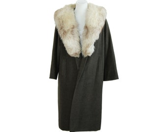 Hunter Green Wool Coat w/ Fox Fur Collar Forstmann Sycamore