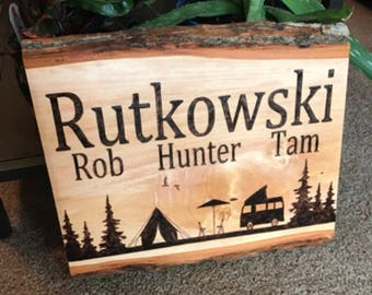 Camping sign - custom camp sign - personalized camping sign - campsite sign - custom cabin sign - camper sign - camp sign - camper decor