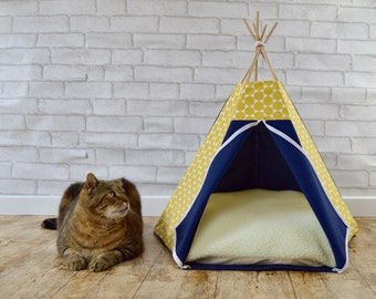 Cat house, cat cave, cat bed, cat teepee, dog teepee, pet bedding, cat cushion, dog bed, cat basket - diamond pattern - yellow & navy blue