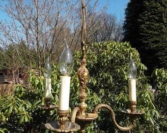 cute little vintage French bronze 3 arm chandelier (53219)