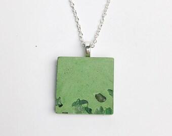 Green Concrete necklace- citrine