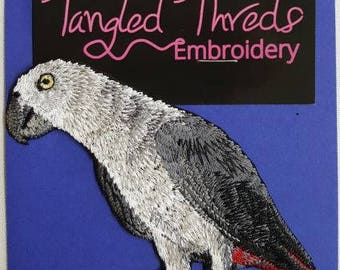 """African Grey Embroidered Patch 4"""" x 4"""""""