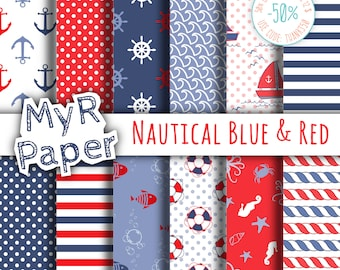 "Digital Paper Pack: ""Nautical Blue & Red"" patterns and backgrounds with anchor, rudder, sailboat, fish, seawaves. Digital Scrapbooking"