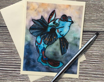 Mandarin Fish Original Watercolor Print - Ivory Note Card