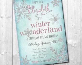 Winter Wonderland Birthday Invitation printable/ Snowflake Invitation digital/wording can be changed/girl, silver, glitter, watercolor