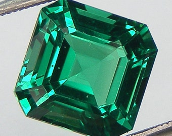 Excellent Cut Nanocrystal Emerald Asscher Cut 9 x 9 mm Loose Nanocrystal Emerald Simulated Gem Lab Created Loose Gemstone