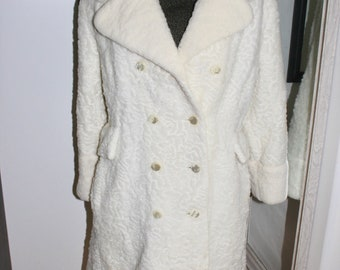 Vintage White Faux Persian Lamb Coat Medium Size? - Double Breasted Russian Style
