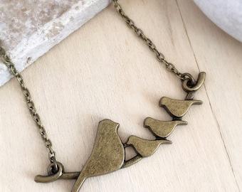 Bronze Bird Necklace, Bird Choker, Birds on a Branch, Bird Pendant, Bronze Choker, Bird Jewellery, Bird Jewelry, Bronze Bird Charm