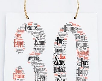 30th/40th/50st/60th Personalised Birthday Word Art Hanging Plaque