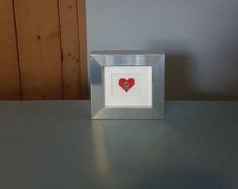 Heart with LOVE Charm - Framed Cross Stitch - Super Hero Wall Art - Home Decor