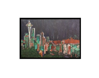 "Seattle Skyline - ""Night"" Original Oil Painting by PJ Uriarti, Framed 24x36 Seattle Art"