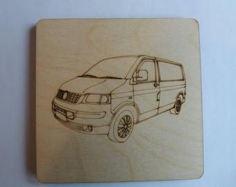 T5 Panel Van  Coaster - Etched wood
