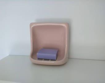 Vintage pink soap dish - Bathroom Accessories - Porcelain soap dish