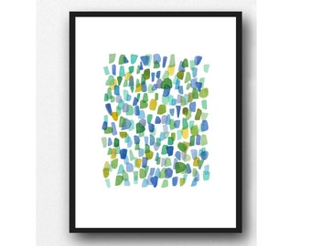 Abstract watercolor painting sea glass original watercolor painting abstract watercolor blue green yellow dots