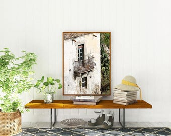 Sicily Italy Photography - Balcony Print - Rustic Italian Decor - Mediterranean Wall Art - Sicilian Travel Photography - Old Architecture
