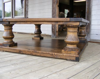 Genial 48x48x19 Dark Walnut Wood Finish Balustrade Coffee Table Beautiful Chunky  Legs Completely Handcrafted