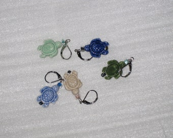 Handcrafted Stitch Markers - Porcelain Turtles