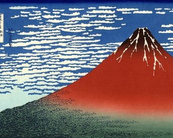 Fuji Mountains in Clear Weather Repro Japanese Woodblock Art Print PIcture By Hokusai A3 A4