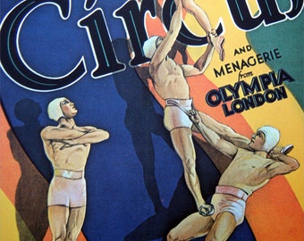 Vintage Circus Poster Print - Bertram Mills Acrobats The Four Kemmys Vintage Poster Size Book Plate