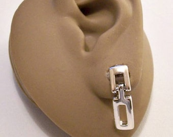 Napier Square Double Block Hoop Pierced Post Stud Earrings Silver Tone Vintage Small Bar Linked Open Slotted Dangles